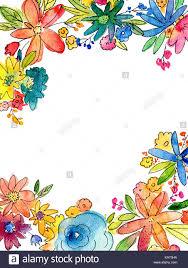 Marco Flores Acuarela Ilustracion Con Copia En Blanco Espacio En