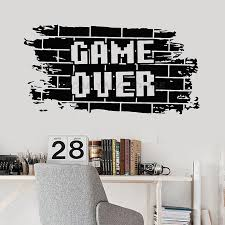Game Over Wall Decal Bricks Gaming Teens Boys Bedroom Play Room Video Games Home Decor Door Window Vinyl Stickers Mural 1503 Wall Stickers Aliexpress