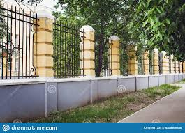 Brick And Metal Fence Of Modern Style Design Fence Ideas Stock Image Image Of Facade Fence 134931235