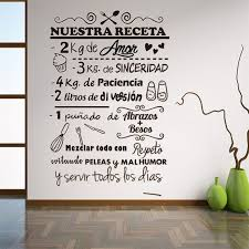Hot Deal 8a68 Spanish Recipe Wall Stickers Nuestra Receta Vinyl Wall Decal Restaurant Kitchen Decoration Removable Wall Window Decals Ru186 Cicig Co