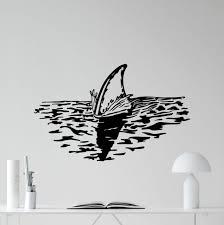 Shark Fin Wall Decal Sea Waves Bathroom Vinyl Sticker Art Decor Mural 128xxx Ebay