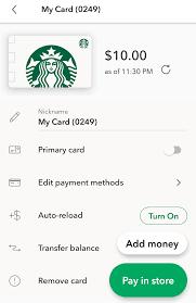 transfer starbucks gift card balance