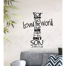 Christian Wall Decal For God So Loved The World John 3 16