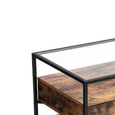 black iron framed coffee table