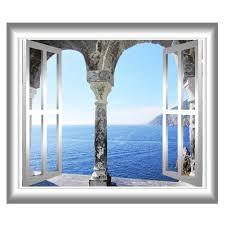 Mediterranean Ocean 3d Window Frame Wall Decal Greece Ocean Etsy