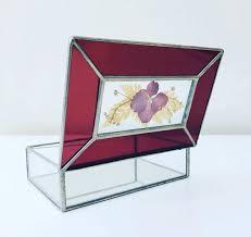 vintage leaded glass jewelry box purple