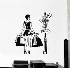 Vinyl Wall Decal Girl Shopping Discount Clothing Shop Store Stickers G1171 Ebay