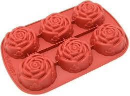 6 cavity rose shape silicone mold