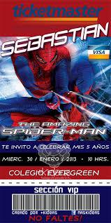 Ticket Master Spiderman Cumpleanos Del Hombrecito Invitacion De