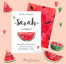 Invitacion Sandia Impresion Doble 260 00 En Mercado Libre