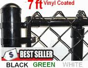 7 Ft Vinyl Coated Complete System Includes Line Posts Top Rail Chain Link Mesh Fittings
