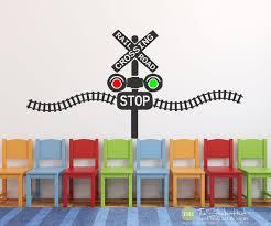 Railroad Train Crossing Lights With Train Track Children Etsy