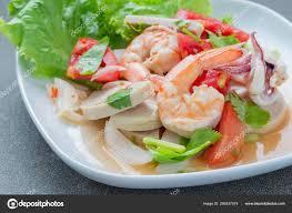 Mixed Seafood Salad Thai Food — Stock ...