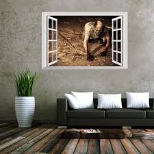 Creative 3d Fake Windows Wall Stickers Halloween Crawling Zombie Stickers Living Room Bedroom Decoration Supplies 48 5 72cm Alexnld Com