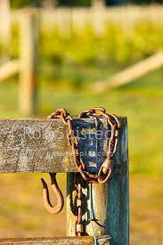 Old Rustic Gate Hook And Chain Haning On A Farm Fence Strainer New Zealand Nz Stock Photo From New Zealand Nz Photos And Stock Photography By Rob Suisted
