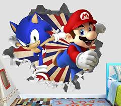 Sonic Mario Olympic Wall Decal Smashed 3d Sticker Vinyl Decor Mural Games Broken Wall 3d Designs Op421 Large Wide 40 X 36 Height Vinyl Decor Kids Room Wall