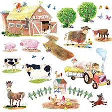 Amazon Com Decowall Dw 1407 Pony Club And Farm Animals Kids Wall Stickers Wall Decals Peel And Stick Removable Wall Stickers For Kids Nursery Bedroom Living Room Decor Home Improvement