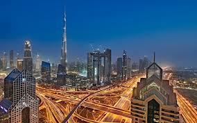 تحميل خلفيات برج خليفة مساء المدينة دبي المباني الحديثة