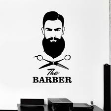 Men S Barber Shop Wall Stickers Removable Hair Salon Scissors Tools Stylist Mural Decal Self Adhesive Wall Window Decor Wish