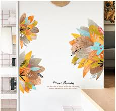 Colorful Leaves Wall Stickers Yellow Blue Leaf Decals Tropical Home Decor Creative Plants With Quotes Wall Art Print Meet Beauty Thefuns On Artfire