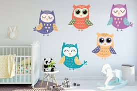 Colorful Owl Wall Decal Set Colorful Owl Stickers Kid S Etsy Owl Wall Decals Owl Wall Kid Room Decor