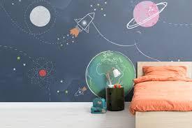 Kids Cartoon Space Rocket Wallpaper Murals Wallpaper