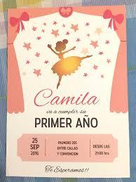 20 Invitacion Bailarina Cumpleanos Bautismo Primer Ano 400 00