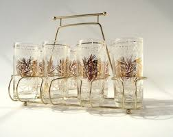 vintage drinking glasses set with gold