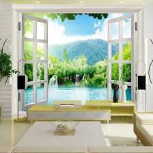 Shop Custom 3d Mural 3d Stereo Wallpaper Living Room Bedroom Background Wallpaper Warm Romantic Fake Window Large Mural Online From Best Wall Stickers Murals On Jd Com Global Site Joybuy Com