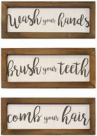 Amazon Com Stratton Home Decor Stratton Home Decor Set Of 3 Printed Linen Bathroom Rules Wall Art 12 25 W X 0 50 D X 4 75 H Each Brown 3 Count Posters Prints