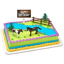 Amazon Com Themed Mini Cake Food Cupcake Appetizer Desert Miniature Toys Decorating Topper Decorations Horses Fence Toys Games