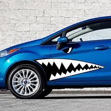 Fochutech 2pcs Creative Auto Decor Shark Mouth Tooth Car Sticker Adhes