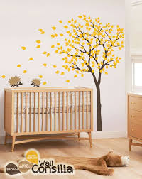 Nursery Tree Wall Decal Large Tree Wall Sticker With Hedgehog Etsy Baby Nursery Wall Decals Nursery Wall Decals Tree Nursery Wall Decals