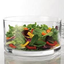 large clear glass salad bowl