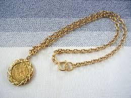 chanel vintage gold medallion