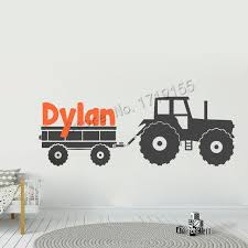 Personalized Name Wall Decal Boy Name Large Tractor Wall Decor Kids Nursery Room Vinyl Wall Stickers Custom Name Decal Diy Zw472 Wall Stickers Aliexpress