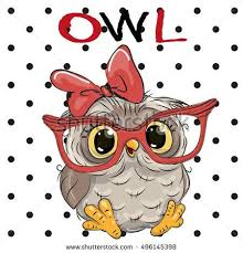cute cartoon owl with glasses on a dots