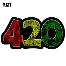 Yjzt 6 X 3 420 Weed Leaf Leaves Car Decal Sticker Ghost Whips