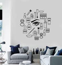 Vinyl Wall Decal Makeup Cosmetics Woman Girl Beauty Shop Stickers Unique Gift Ig3538 Wall Decor Decals Vinyl Wall Decals Salon Wall Art