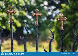 Beautiful Small Iron Crossed Fence Decoration Graveyard Wall With Green Woods In Background Stock Photo Image Of Detail Hedera 164346650