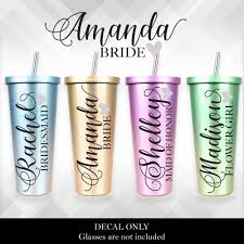 Bridal Party Bridesmaid Decal For Glasses Or Plastic Tumblers Vinyl Sticker Bride Tribe Vinyl Sticker
