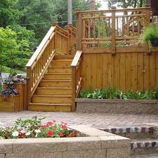 wood deck with brick paver patio and