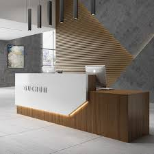 golden teak wood office reception