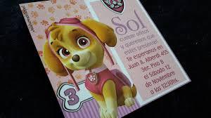 Tarjetas Invitaciones Cumpleanos Paw Patrulla Canina Skye 26