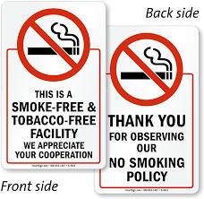 2 Sided Smoke Tobacco Free Facility Glass Decal Signs Sku S 4921