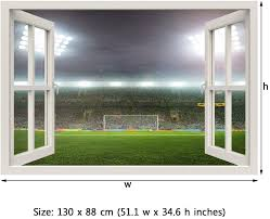 Royalwallskins Window Frame Mural Soccer Stadium Huge Size Peel And Stick Fabric Illusion 3d Wall Decal Photo Sticker Amazon Com