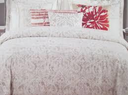 taupe white fl duvet set