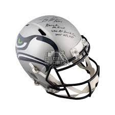 Shaun Alexander Autographed Seahawks Amp Full Size Football Helmet Jsa 3 Inscrip Steel City Collectibles
