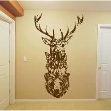 Amazon Com Wall Window Sticker Decal Totem Wolf Bear Deer Elk Animal Horns Country Hunting Hunter Boys Bedroom 1268b Baby