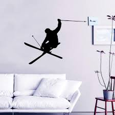 Amazon Com Downhill Skiing Wall Decal Vinyl Stickers Decals Home Decor Skier Snow Freestyle Jumping Extreme Sports Winter Nursery Bedroom Dorm Zx111 Handmade